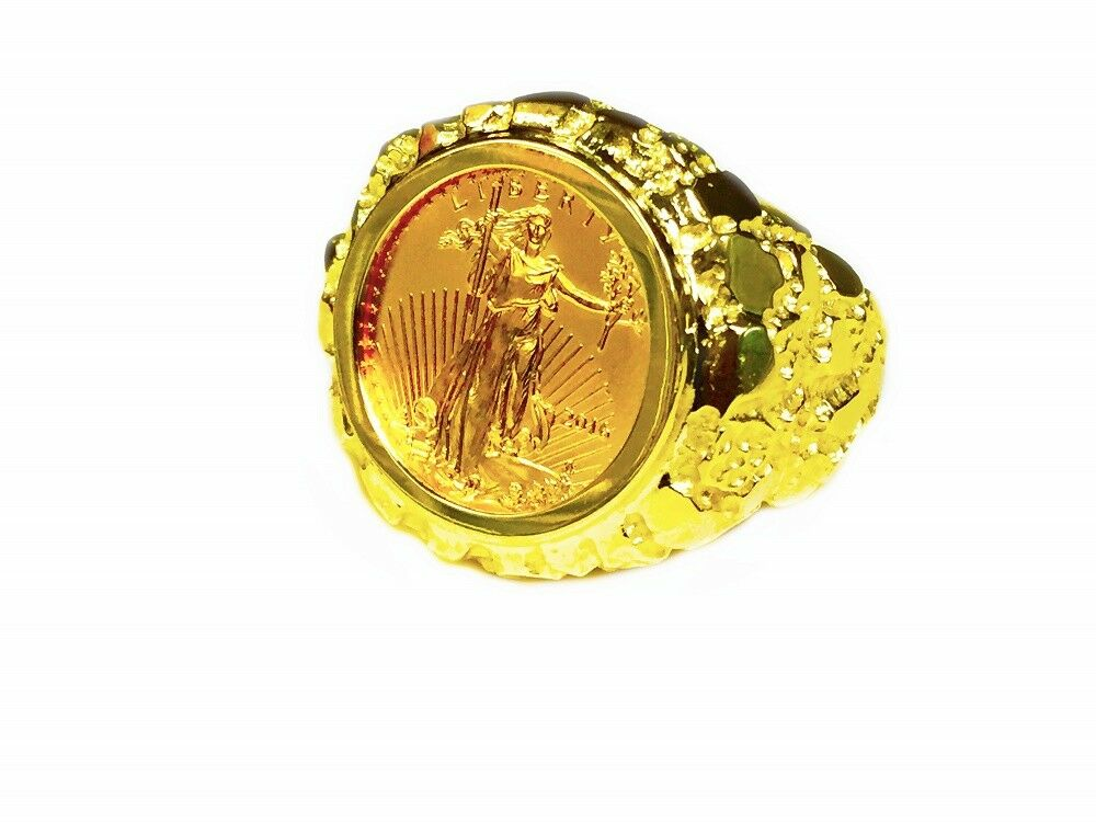 14K Gold Men's 22 MM NUGGET COIN RING with a 22 K 1/10 OZ