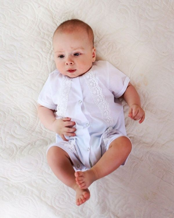 Baby Boy Baptism Outfit White Christening Bodysuit Lace Cotton Clothes Handmade