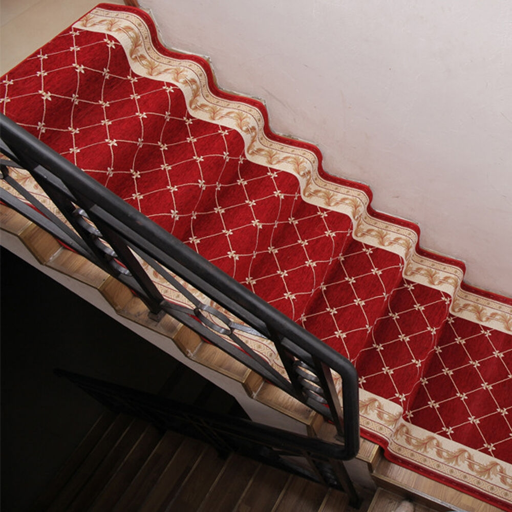 Red Brown 3Ft 4Ft Width Non Slip Hall Stair Runner   Carpet Stair Runners By The Foot