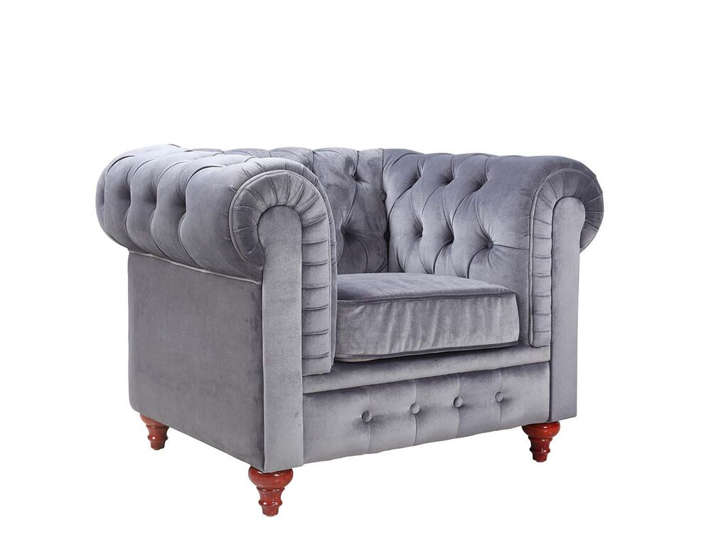 Grey Chesterfield Velvet Contemporary Style Tufted Button