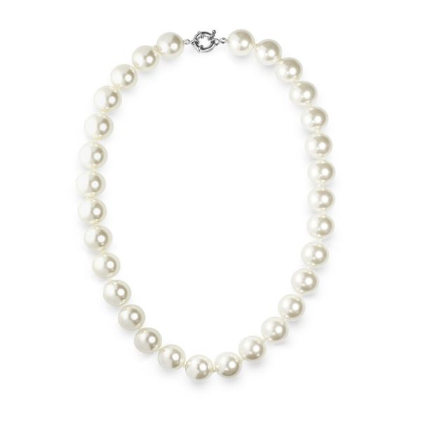Elegant Large 14mm Faux White Pearl 18 Necklace With Silver Plated Clasp