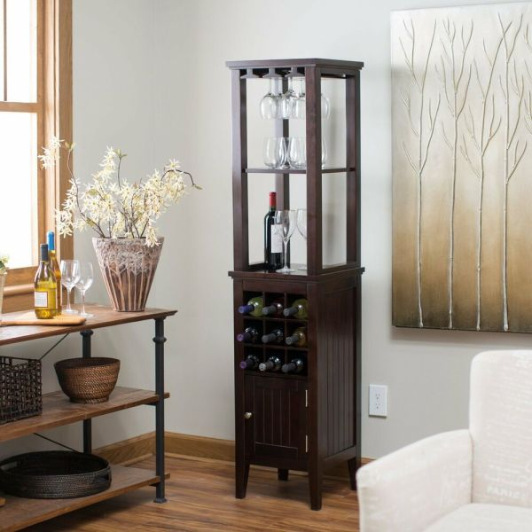 Wine Rack Cabinet Bottle Holder Storage Stand Tower Tall