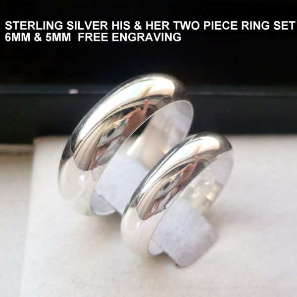 Sterling Silver And Wedding Band Set