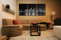 MIAMI SKYLINE ready to hang picture/mounted canvas wall ...