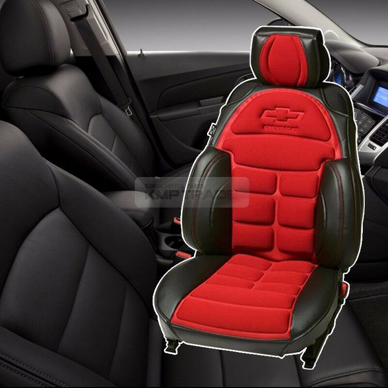 Bowtie Emblem Logo Bucket Seat Cushion Cover Red For