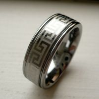 8MM MEN'S TUNGSTEN CARBIDE WEDDING BAND RING greek key ...