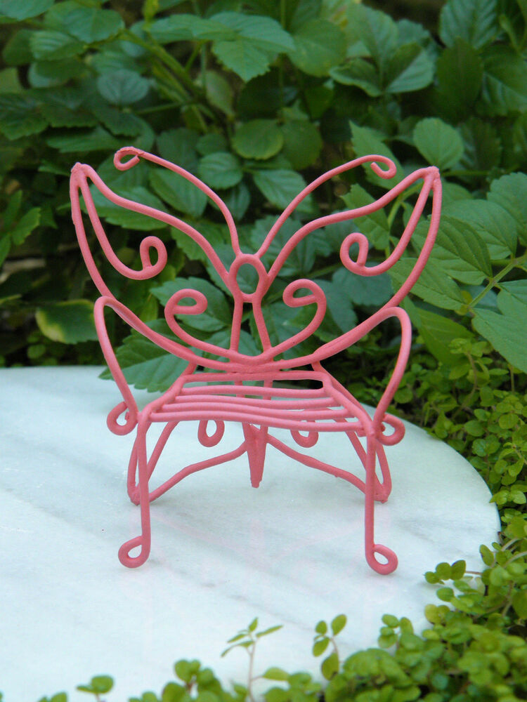 Miniature Dollhouse Fairy Garden Furniture Pink Metal
