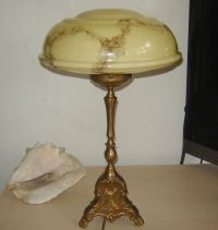 OLD Vintage Art Deco Nouveau CARAMEL glass Desk Table Lamp ...