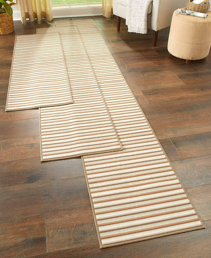 EXTRALONG NONSLIP STRIPED FLOOR RUNNER RUG SPICE SAND OR BLUE  60 90 OR 120  eBay