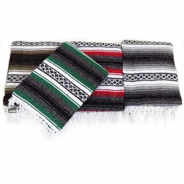 Large Hand Woven Mexican Blanket Color Yoga Mat