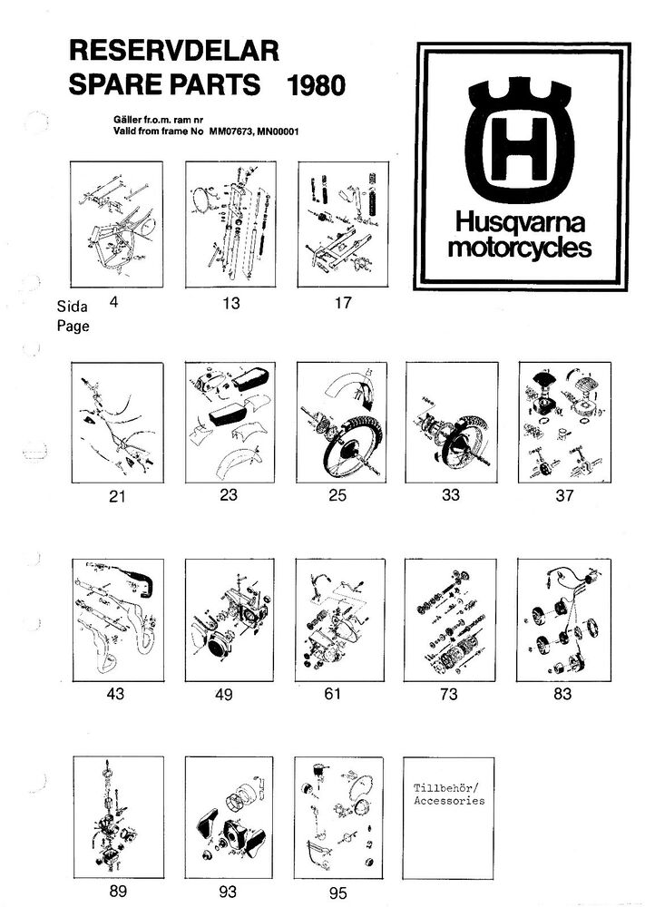 Husqvarna Parts Manual Book 1980 ACC 390, ACCE 390 & AMX