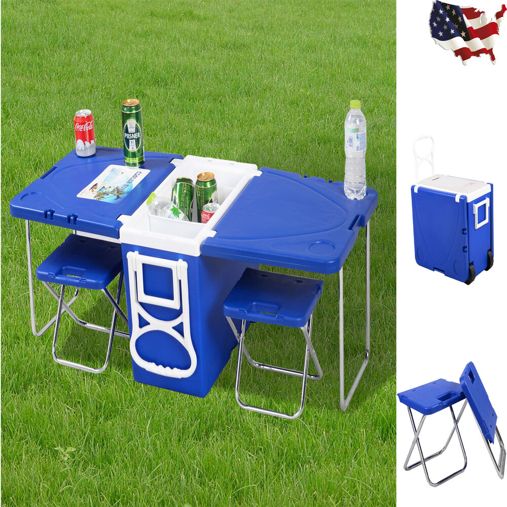 Rolling Picnic Cooler With Table And 2 Chairs Camping