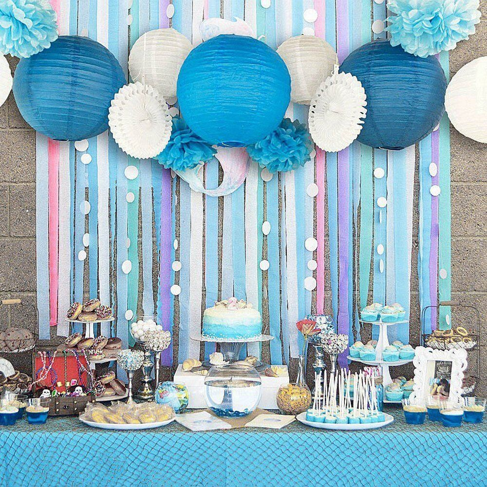 13pcs Blue Beach Themed Party Paper Crafts Decor For