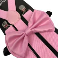 Light Pink Bow Tie & Suspender Set Tuxedo Wedding Formal