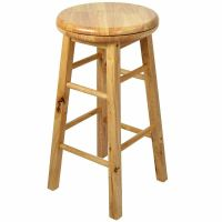 Wooden Revolving Stool Light Brown Swivel Bar Pub Chair