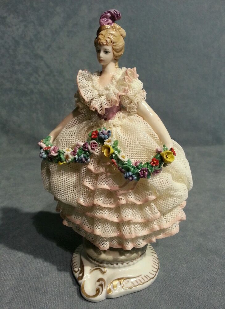 Capodimonte Porcelain Miniature Girl Gig with Lace and garland of flowers  eBay