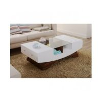 Coffee Table Glass Drawers White Modern Contemporary ...