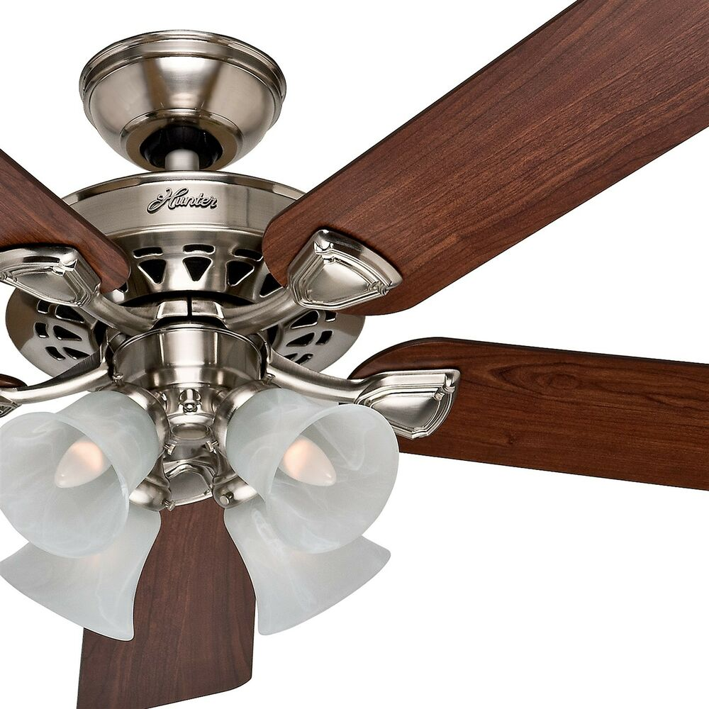 Hunter 52 Traditional Large Room Brushed Nickel Finish Ceiling Fan with lights  eBay