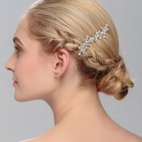 Vintage SilverHandmade Wedding Party Hair Comb Crystal