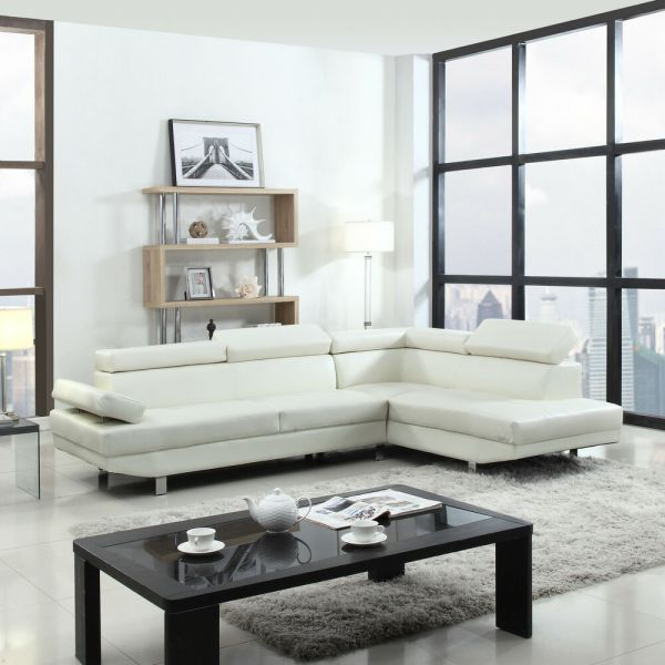 modern living room with sectional sofa Modern Contemporary White Faux Leather Sectional Sofa