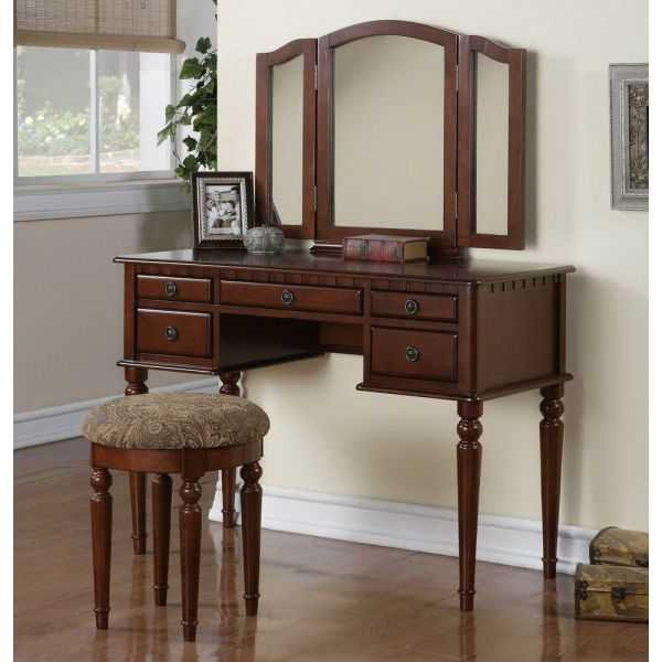 Wood Vanity Set Makeup Table Chair Mirror Dresser Desk