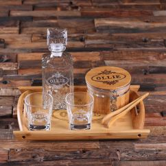 Personalized Kitchen Items Oak Cabinets Whiskey Decanter Set Ice Bucket W/ Tong ...