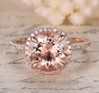 HALO Fashion 14K Rose Gold 9mm Round Morganite PAVE SI