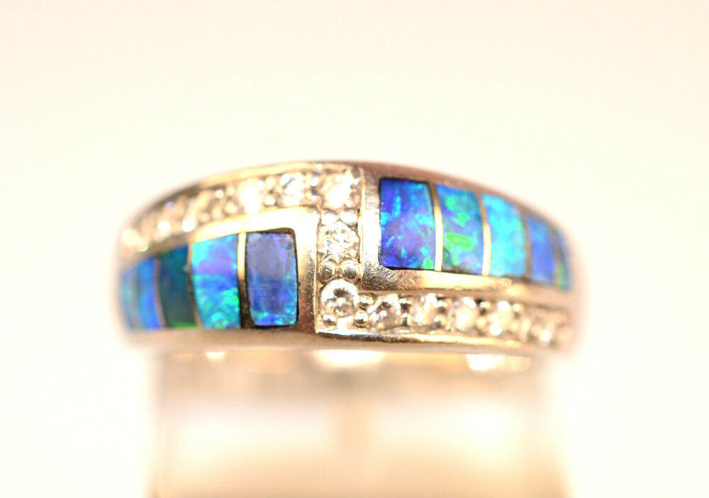 CONTEMPORARY 14K WHITE GOLD INLAID OPAL Amp 15 ACCENT