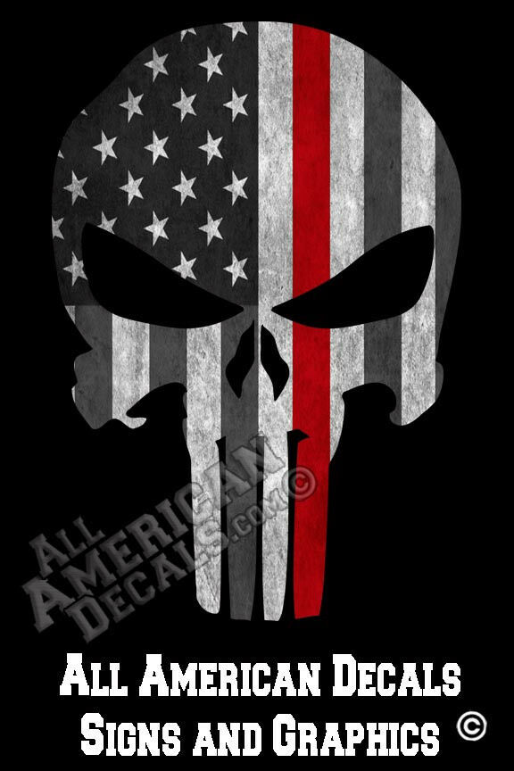Punisher Trl Skull Tactical Flag Firefighter Decal Graphic
