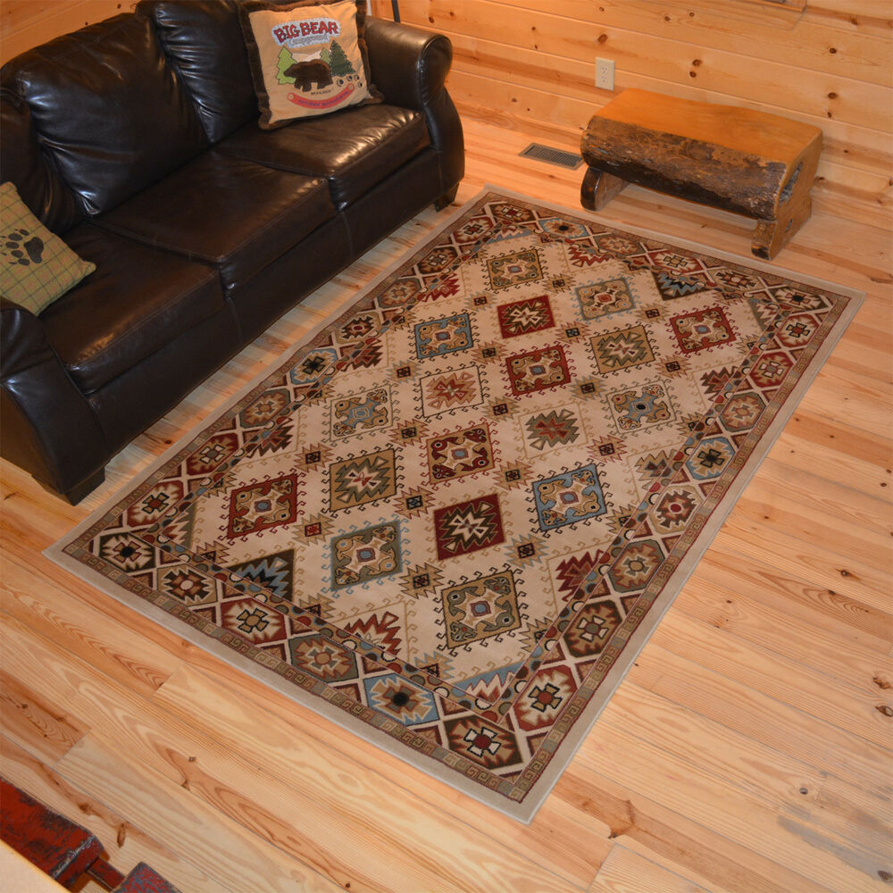 8x10 710 x 910 Southwestern Lodge Cabin Tribal Area Rug FREE SHIPPING  eBay