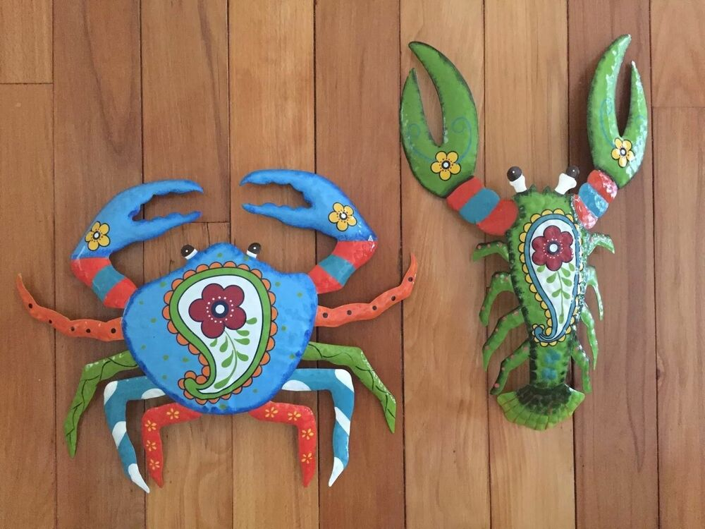 Colorful Crab Lobster Metal Outdoor Wall Art Coastal