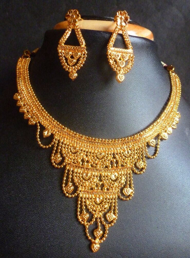 22K Gold Plated Indian Wedding 8 Long Pakistani Bridal Necklace Earrings D EBay