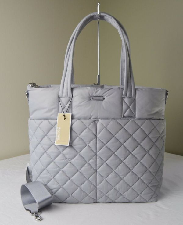 Michael Kors Dove Grey Quilted Nylon Roberts Large Gym