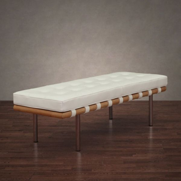 Contemporary Bench White Leather Cushion Entryway Hallway