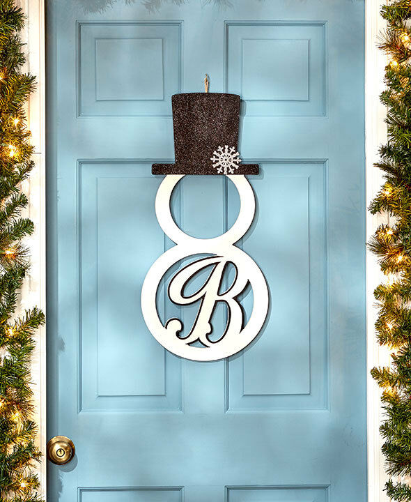 PERSONALIZED Monogram Snowman Front Door Hangers Wall