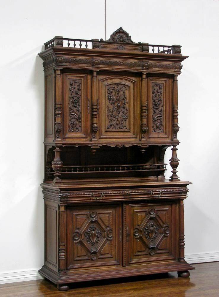 1106053  Antique French Walnut Renaissance Carved Buffet