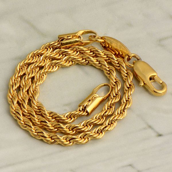 Womens Girls Fashion 14k Yellow Solid Gold Filled Authentic Rope Chain Bracelet