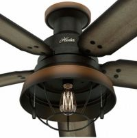 "52"" Hunter Bronze Outdoor Damp Rated Ceiling Fan w/ LED"