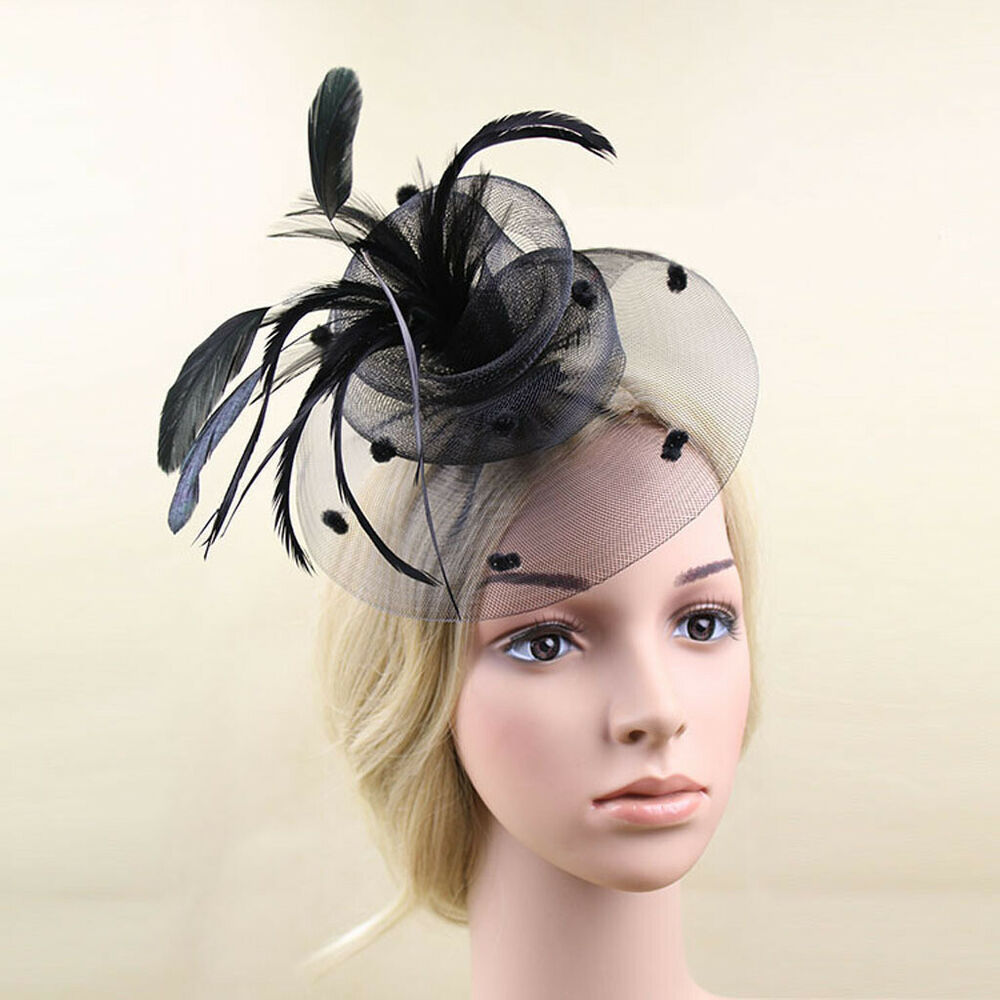 Vintage Mini Top Hat Feather Net Hair Clip Veil Fascinator