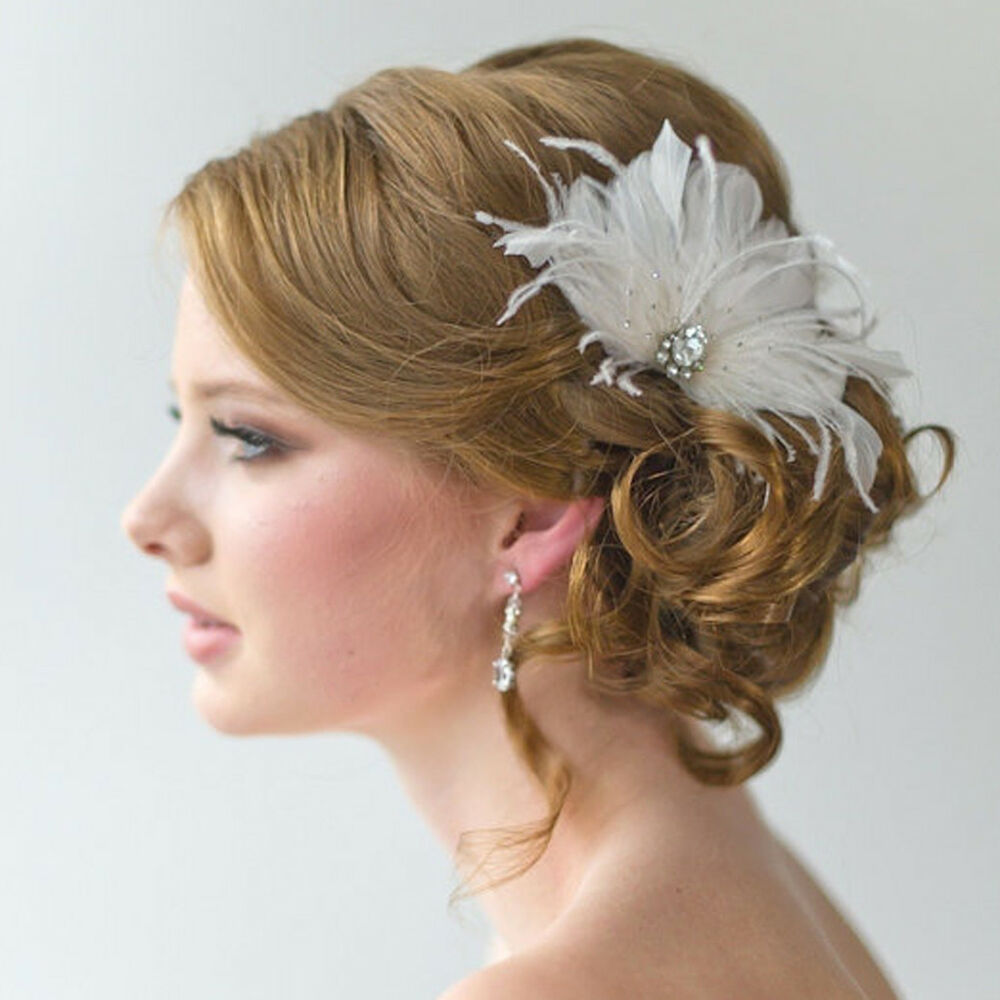 Wedding Party Women Lady Feather Hair Clip Brooch