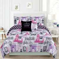 Bedding Girls Comforter Bed Set Paris Eiffel Tower London ...