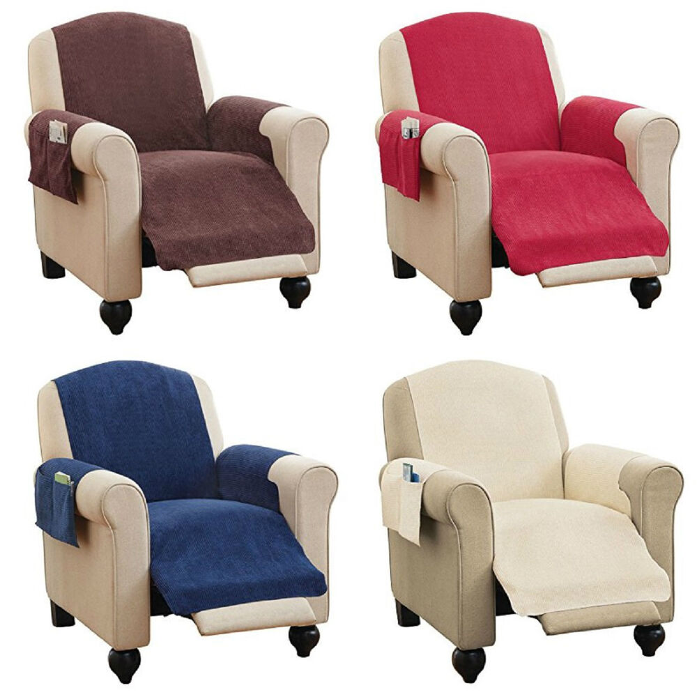 Faux Chenille Recliner Chair Furniture Cover  Pockets 4