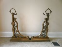 F. Barbedienne Antique French Bronze Fireplace Chenets ...