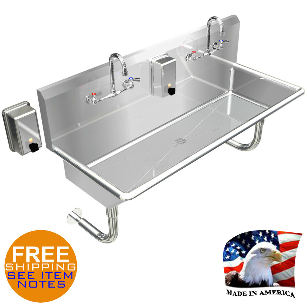 Hand Sink Industrial Multistation 2 Person 42quot Manual