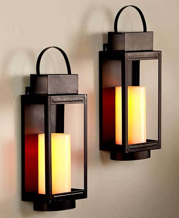 REMOTE CONTROL LED STAGECOACH CANDLE LANTERN WALL SCONCES