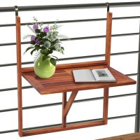 Deck Table Foldable Acacia Wood Balcony Railing Hanging ...