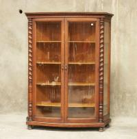 H1157 : Antique American Oak Curved Glass Front China ...