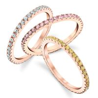 Sterling Silver Cubic Zirconia Pink Rose Gold Stackable CZ