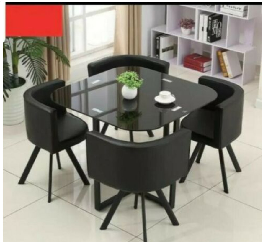 NEW MODERN Space Saver Black Square Glass Dining Table Amp 4