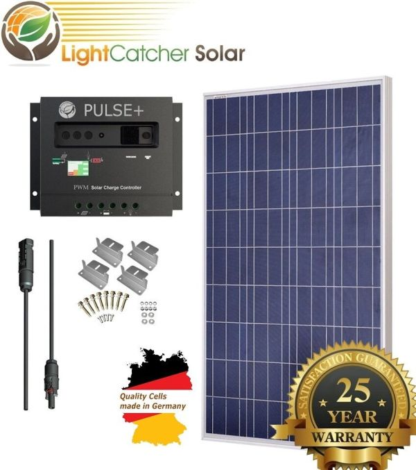 Watt 100w Solar Panel Kit With Charge Controller 12v Rv Boat Grid